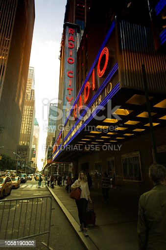 New York, NY: Radio City Music Hall at Dusk