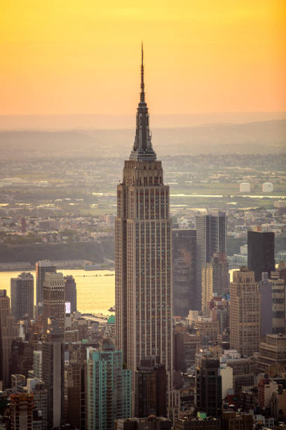 New York, NY / USA - August 07 2018: Empire State Building aerial view New York, NY / USA - August 07 2018: Empire State Building aerial view empire state building stock pictures, royalty-free photos & images