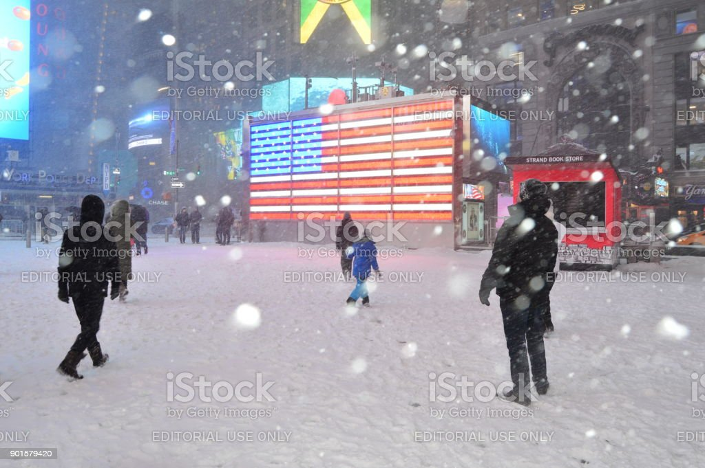 New York, NY, USA January 4, 2018 A major snow storm hits the New York City area, covering Times Square. stock photo