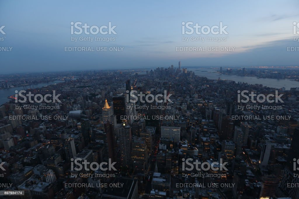 New York on the evening sky background. America, New York City - May 13, 2017 stock photo