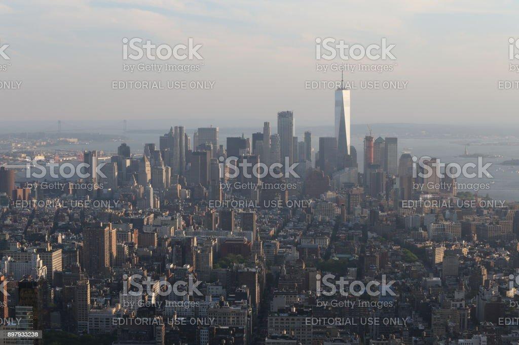 New York on the horizont. America, New York City - May 13, 2017 stock photo