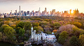 New York panorama from Central park, aerial view in autumn season