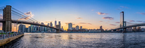 new york panoramic view at lower manhattan while sunset new york city stock pictures, royalty-free photos & images