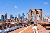New York, Brooklyn Bridge and city skyline.