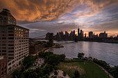 The New York skyline from the Manhattan Bridge.