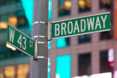 A Broadway and 43rd street sign in Times Square.