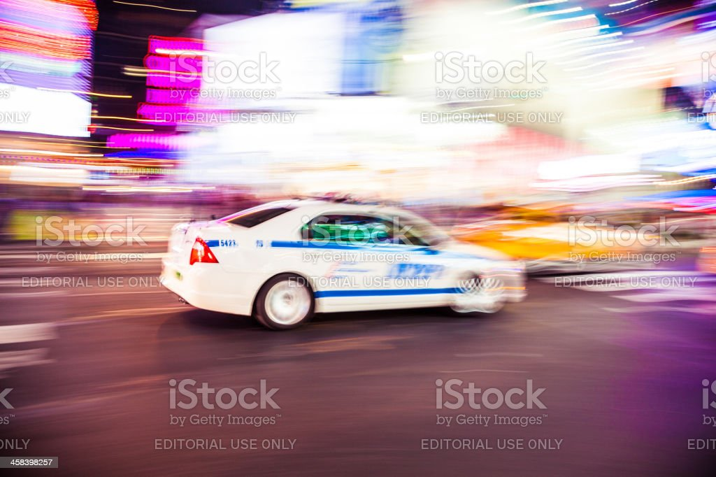New York Police Department car in Times Square royalty-free stock photo