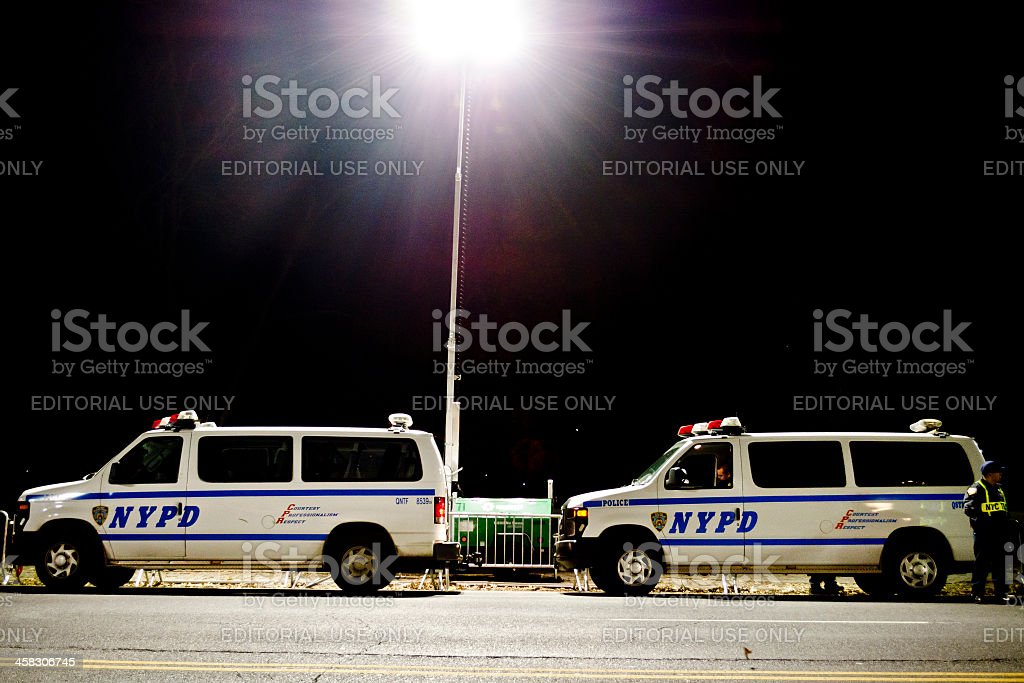 NYPD New York Police Department Vans And A Policeman royalty-free stock photo