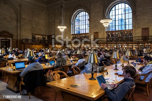Panoramic view of the people studying in the New York Public Library, Bryan Park, Midtown Manhattan, New York