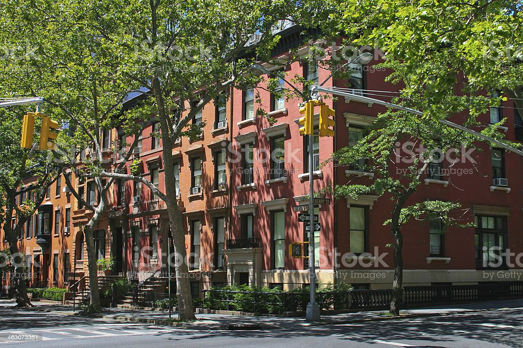 New York Rowhouses, Brooklyn Heights. stock photo