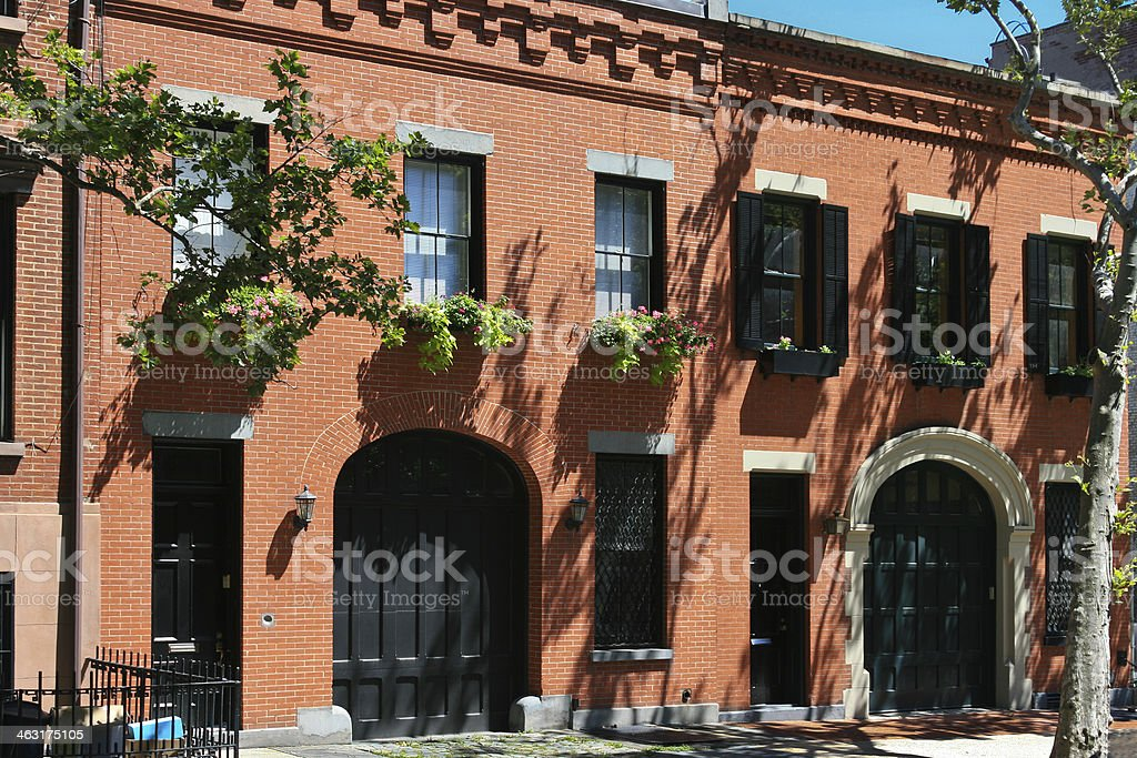 New York Rowhouses. stock photo