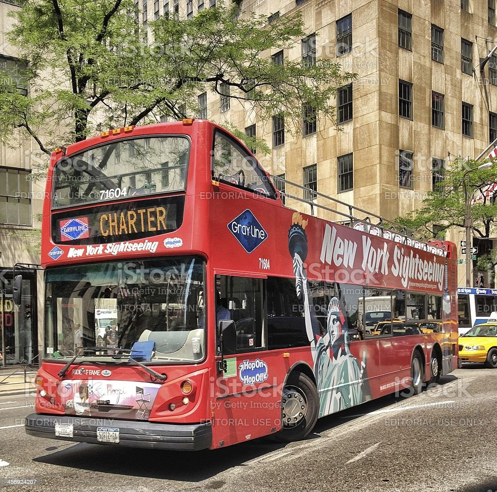 New York Sightseeing Bus on Fifth Avenue stock photo