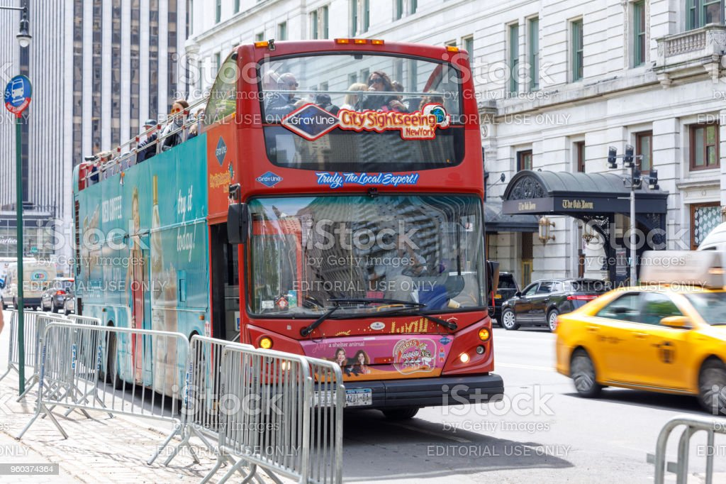 New York Sightseeing Hop on Hop off bus in Manhattan stock photo