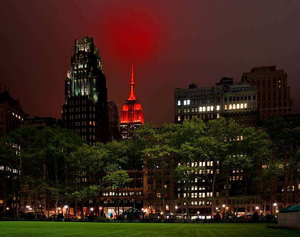 New York Skyline at Night with Empire State in Red