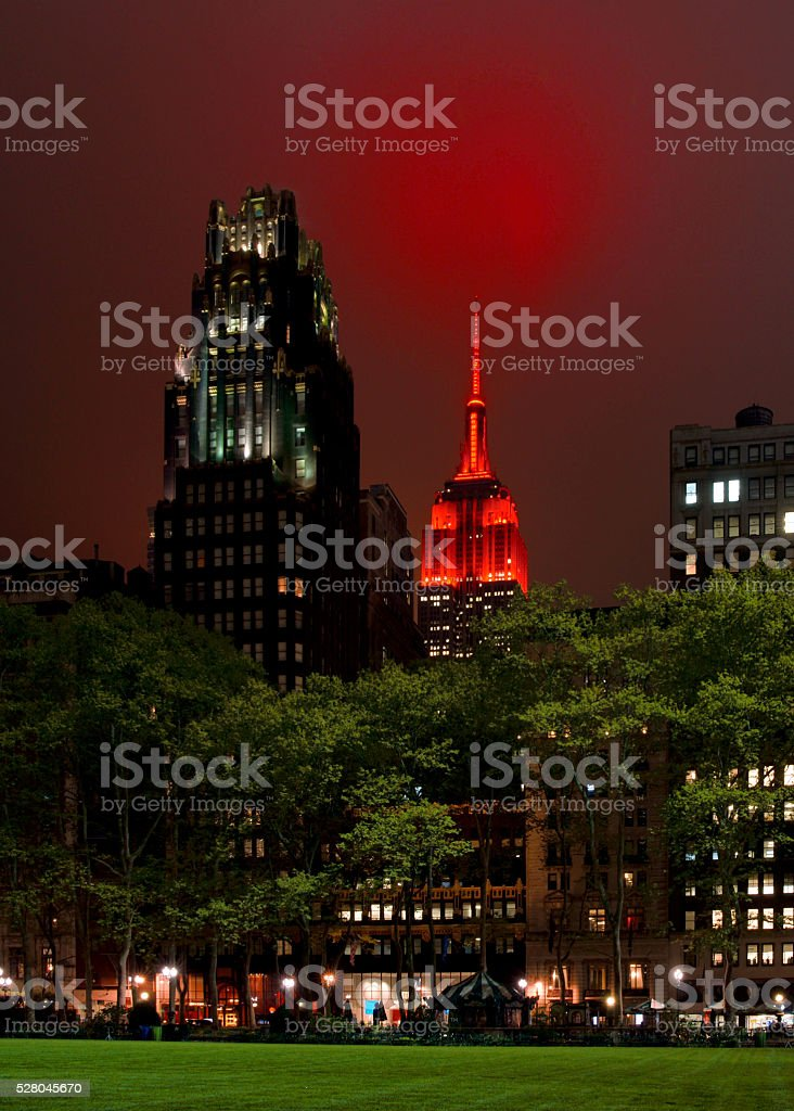New York Skyline at Night with Empire State in Red stock photo