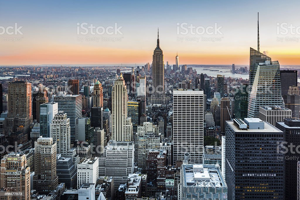 New York skyline at sunset stock photo