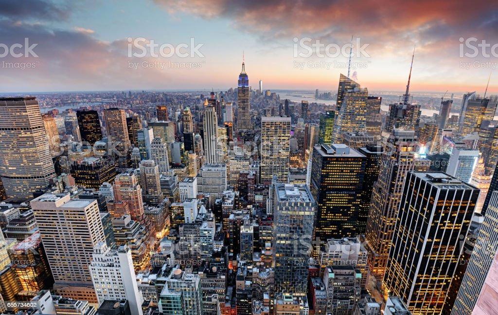 New York skyline at sunset, USA. stock photo