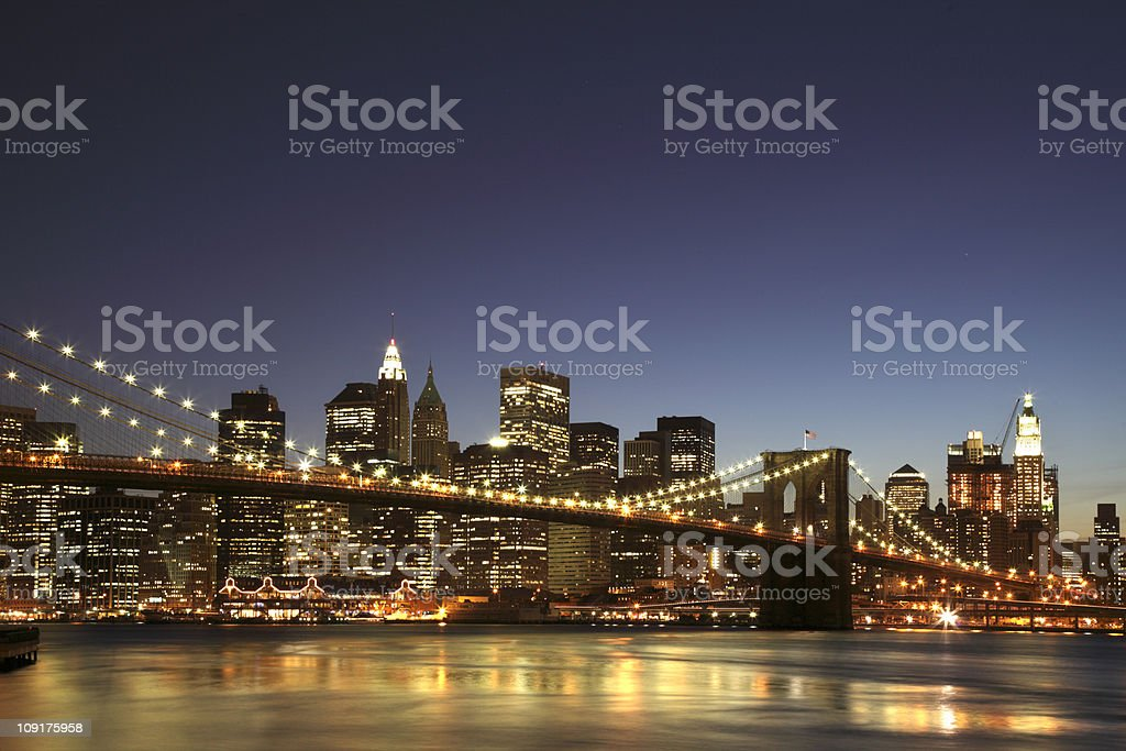 new york skyline - brooklyn bridge in front royalty-free stock photo