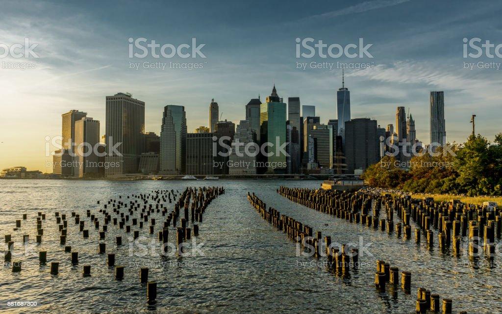 New York Skyline Cityscape Manhatten World Trade Center Freedom stock photo