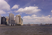 Panoramic view of Brooklyn Bridge and Manhattan skyline, New York City