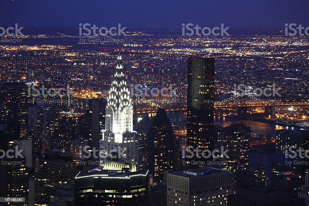 New York Skyline Illuminated at Night stock photo