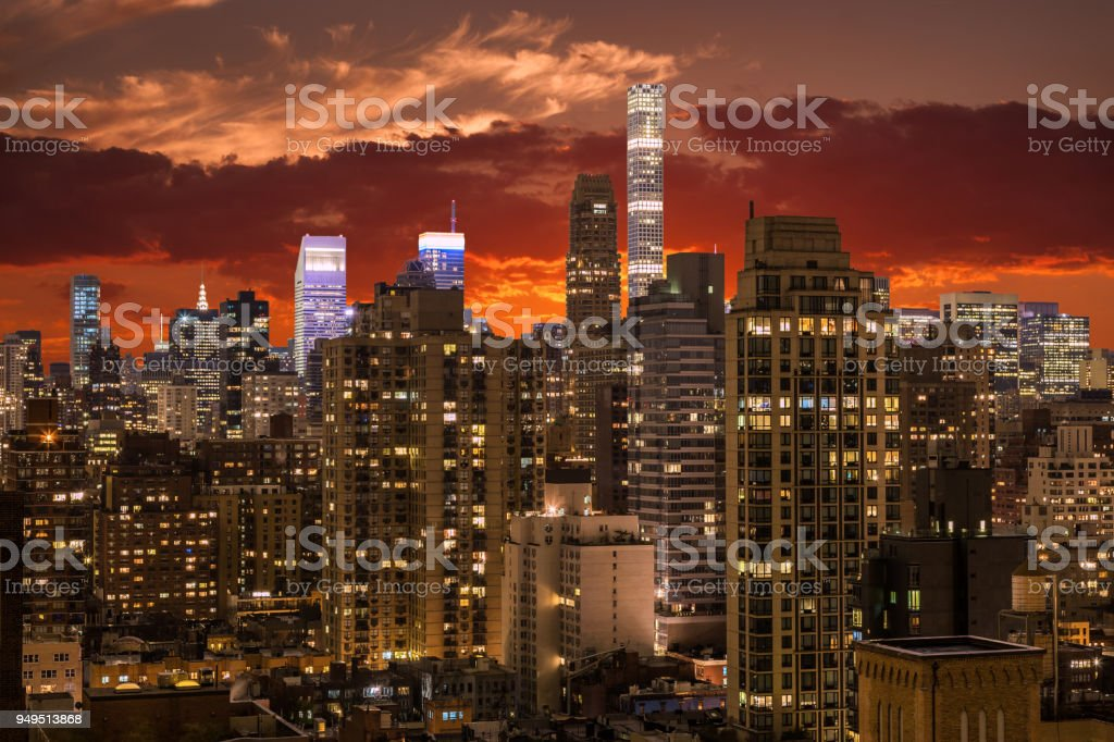 New York Skyline, Luxury Condominium Highrises and Small Footprint Tall Towers of Manhattan Upper East Side and Midtown with Vivid Sunset Sky. stock photo