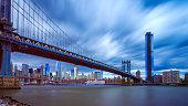 New York skyline over East river and Manhattan bridge