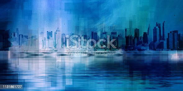 Modern Art. Manhattan, New York panorama in vivid blue colors