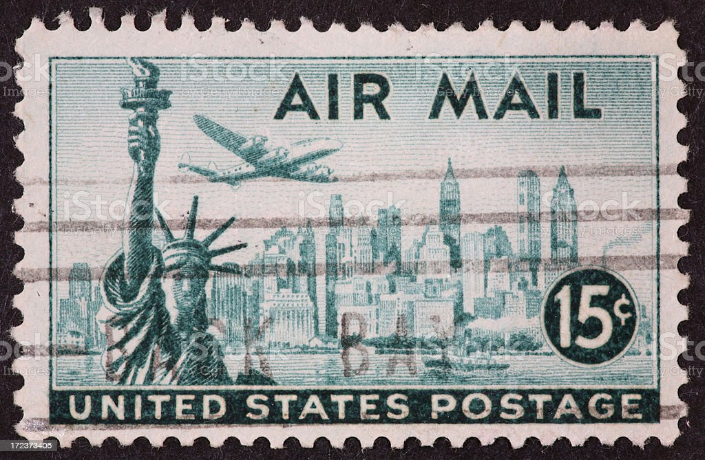 New York skyline stamp 1947 royalty-free stock photo