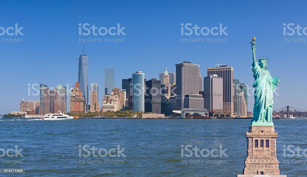 New York Skyline, Statue of Liberty, World Trade Center, Manhattan stock photo