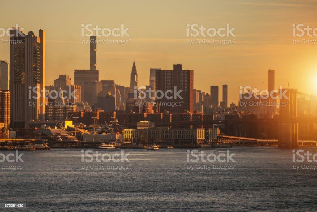 New York Skyline Sunrise stock photo