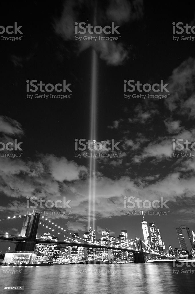 New york skyline tribute lights stock photo