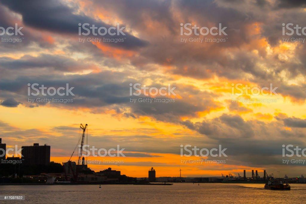 New York Skyline Under A Colorful Sky stock photo