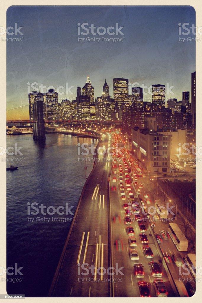 New York Skyline - Vintage Postcard stock photo