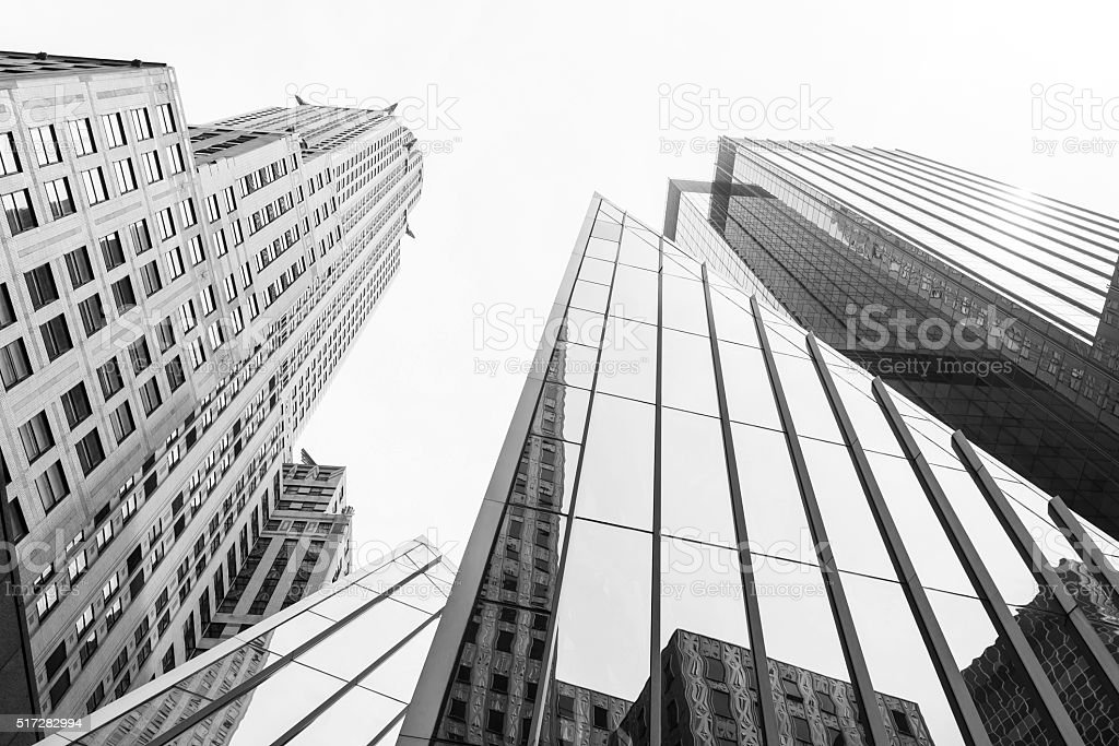New York skysrapers in perspective from below stock photo