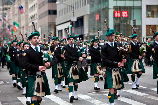 New York City, NY, USA - March 17, 2014: Participants at the annual St. Patrick's Day Parade that takes place on 5th Avenue in New York City. The parade is a celebration of Irish heritage in America and is the largest in the world.