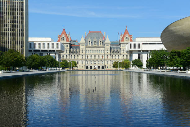 New York State Capitol, Albany, NY, USA New York State Capitol, Albany, New York, USA. This building was built with Romanesque Revival and Neo-Renaissance style in 1867. albany county new york state stock pictures, royalty-free photos & images