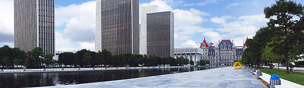 New York State Capitol and Empire State Plaza in Albany stock photo