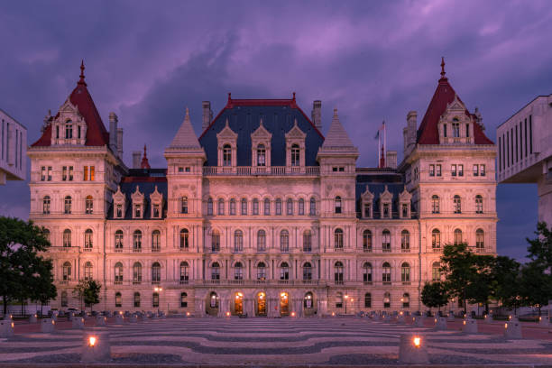 New York State Capitol building at night, Albany NY New York State Capitol building at night, Albany NY albany new york state stock pictures, royalty-free photos & images