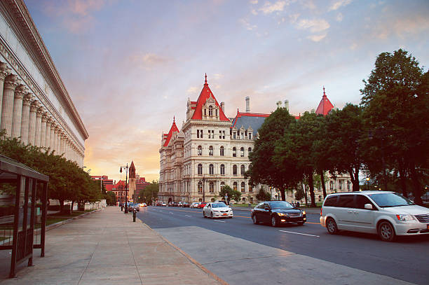 New York State Capitol in Albany, New York state capital stock photo