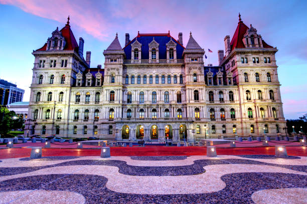 New York State Capitol in Albany New York State Capitol is the state capitol building of the U.S. state of New York. Housing the New York Legislature, it is located in the state capital of Albany on State Street in Capitol Park. Albany is known for its culture, history, architecture, and institutions of higher education albany county new york state stock pictures, royalty-free photos & images