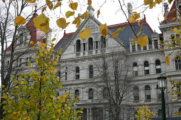 New York State Capitol in the Fall stock photo