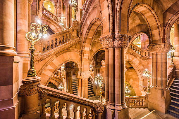 New York State Capitol Albany, New York, USA - October 6, 2016: The Great Western Staircase of the New York State Capitol Building. Also known as the