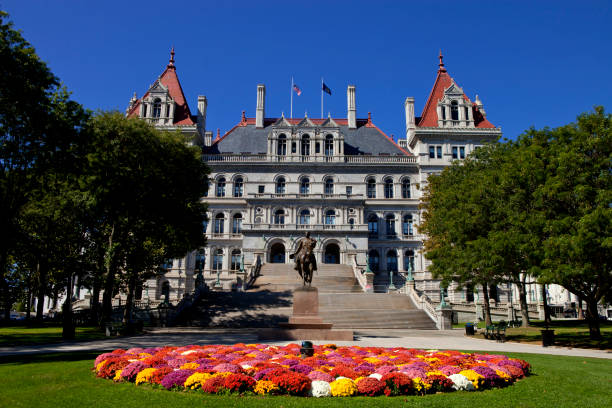 New York State Capitol New York State Capitol in Albany, New York on a beautiful sunny day albany county new york state stock pictures, royalty-free photos & images