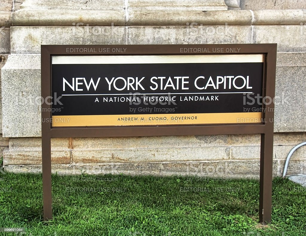 New York State Capitol sign stock photo