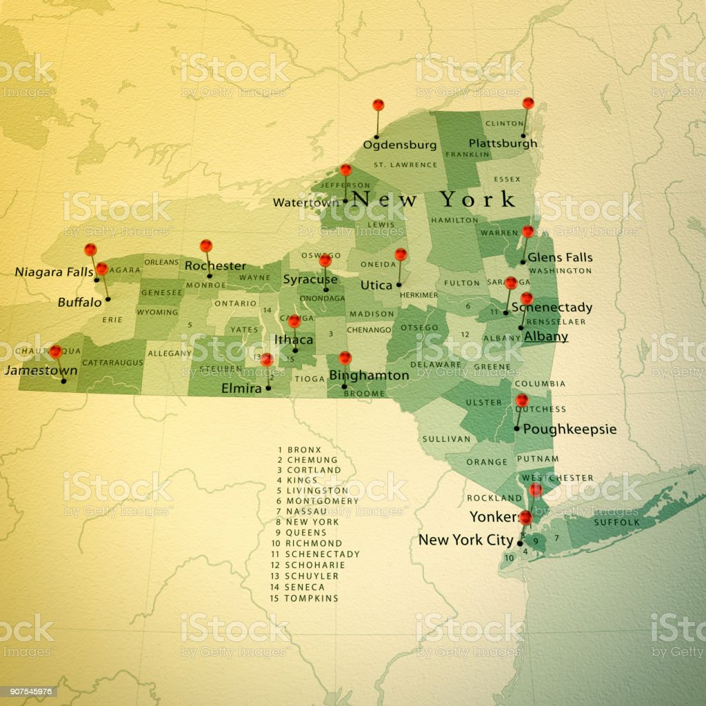 New York State Map Square Cities Straight Pin Vintage Stock Photo