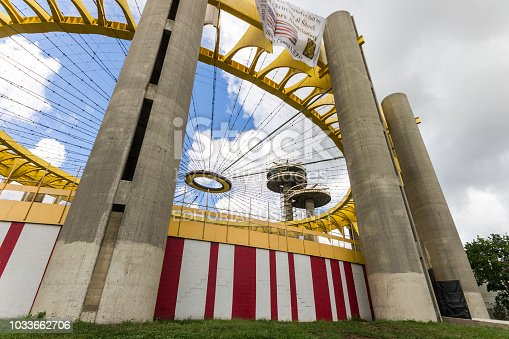 New York City. The New York State Pavilion, a historic world's fair pavilion at Flushing Meadows Corona Park in Flushing, Queens, with its iconic observatory towers