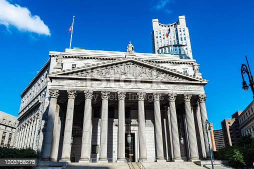 Facade of New York State Supreme Court Building in Manhattan in New York City, USA