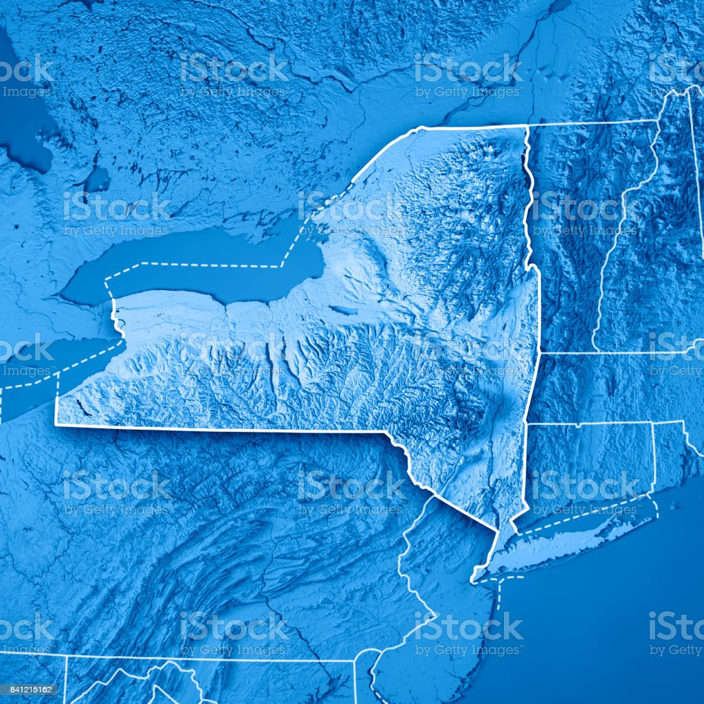 New York State Usa 3d Render Topographic Map Blue Border ...