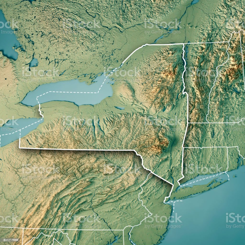 New York State USA 3D Render Topographic Map Border stock photo